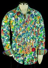 "Robert Graham ""Fauna"" NWT $298 Colorful Floral Embroidered Sports Shirt Large"