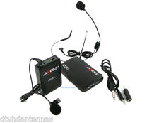2 in 1 Wireless Cordless Lapel Lavalier Mic Microphone System and Over the Head