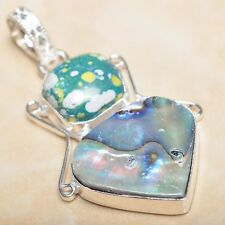 """Mother of Pearl Abalone Sea Shell 925 Sterling Silver Pendant 2"""" #P08372"""