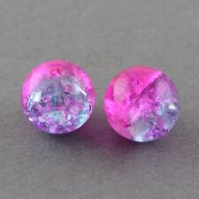 50 x Magento Crackle Glass Round Beads - 10mm - LB1211