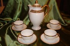 ANTIQUE LIMOGES BERNARDAUD CHOCOLATE / TEA / COFFEE POT + 4 CUPS & SAUCERS SET