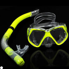 Adult Glass PVC Swimming Swim Diving Scuba Anti-Fog Goggles Mask & Snorkel Set