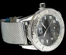 Silver Finish Mesh Band Ice CZ Icy Bezel Bling Hip Hop Metal Quartz Modern Watch