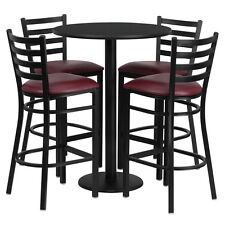 Restaurant Table Chairs 30'' Black Laminate with 4 Ladder Back Metal Bar Stools