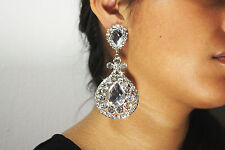 Wedding Prom Bridesmaid CLIP-ON Earrings Crystal Clear Rhinestone Chandelier