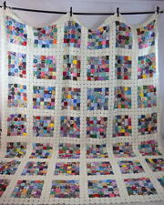 """Vtg Rainbow Checker YoYo Patchwork Quilt King Size Blanket Bed Spread Cover 122"""""""