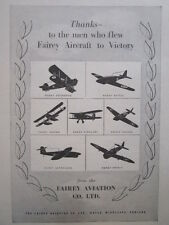 11/1945 PUB FAIREY AVIATION FIREFLY BARRACUDA FULMAR ALBACORE SEAFOX ORIGINAL AD