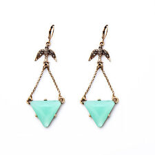 Sky Blue Triangle Pendent Lucky Vintage Gold Swallow Bird Dangle Earrings