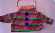 "ORNAMENT ~ MINIATURE  KNITTED CHRISTMAS  SWEATER & BEAD HANGER ~ 4 1/2"" tall."