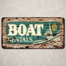 LP0133 BEACH BOAT Rentals Sign Auto License Plate Rust Vintage Home Decor Sign