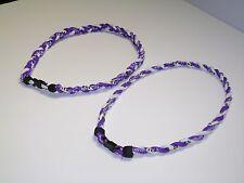 "Northwestern Wildcats -3 Rope Titanium Sport Paracord Necklace-22""-Purple & Wh"