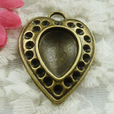 Free Ship 15 pieces bronze plated heart pendant 36x27mm #1826