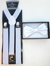 Metallic Sparkly Glitter SUSPENDER and BOW TIE Matching SET Tuxedo  US SELLER