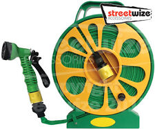 Streetwize Super Flat Garden Car Wash Watering Hose Pipe & Reel with Nozzle -15m