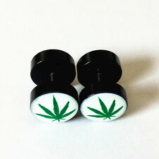 Marijuana/Weed Leaf Cannabis Pot Stainless Steel Fake Ear Plugs Stud Earrings