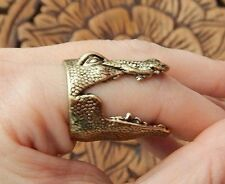DINOSAUR RING brace alligator head jaws kitschy brass/gold punk steampunk new G5