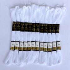 24 Colore Bianco Anchor Punto Croce Cotone Ricamo Filo Filo Interdentale