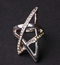 UNIQUE ROCKER STYLE SILVER TONE GEOMETRICAL STAR-SHAPED DIAMANTE RING (ZX34)