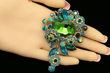 emerald green teal crystal dangle flower Rhinestone gold Brooch pin pendant H01