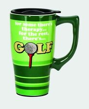 Golf Therapy Green Ceramic Coffee Travel Mug Black Plastic Lid Cover NIB [11883]