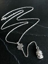 Silver Buddha Eternal Knot Dainty Y-Style Necklace--Thin Stainless Steel Chain