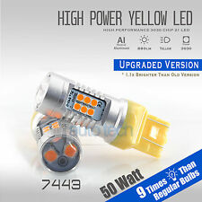 2X 7443 50W High Power SMD LED Projector Amber/Yell​ow Turn Signal Lights Bulbs
