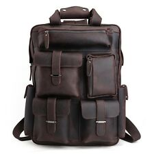 Men's Large Leather Backpack Laptop Sleeve Multi Pockets Camping Hiking Bags