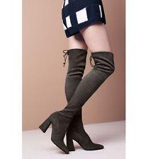 NIB Stuart Weitzman Highstreet Over The Knee Boot Gray Slate Suede Leather 6.5 M