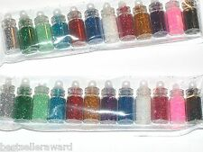12 Lot Glass Small Potion bottles Kit vial pendant filled Fairy glitter 12 Color