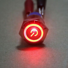 19mm 12v Red LED Momentary Power symbol&angle eye Metal Push button Switch