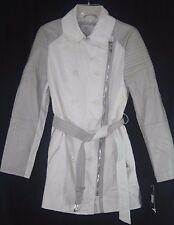 LAUNDRY BY SHELLI SEGAL WOMENS BEIGE CREAM TRENCH COAT JACKET M NEW