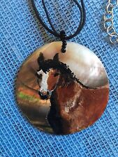 Horse Pendant Hand Painted on Abalone Shell  Unique 'One Off' Piece