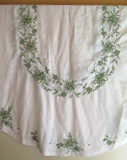"""Vintage Oval White Linen Tablecloth with Green Embroidery, Appliques  104"""" x 70"""""""