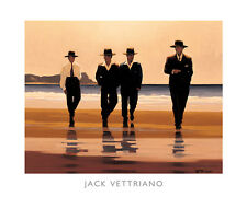 Billy Boys Jack Vettriano art print men black suits hats walking on beach poster