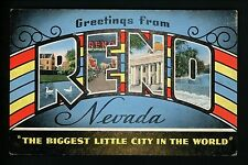 "Large Letter postcard Reno, Nevada NV linen ""Biggest Little City in the World"""