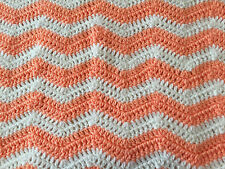 "Handmade Crotchet Knit Striped Baby Toddler White Coral Crib Blanket 37"" X 27"""