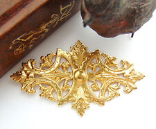 BRASS Art Nouveau Leaf Stamping ~ Jewelry Plaque Cartouche Finding (FC-4) `