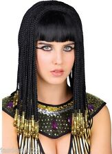 Cleopatra Egipcio Peluca Damas Mujeres Queen Fancy Dress Black Gold peinados ostentosos Wk