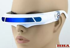 White Blue Mirror Lens Futuristic Cosplay X-Men Cyclops Costume Visor Sunglasses