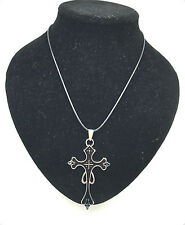 MAN'S Fashion Jewelry Black Cross Swords pendant Black Leather Necklace Gift#2