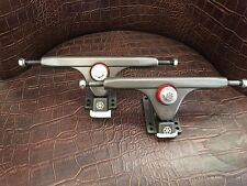 "Gunmetal Magnum V2 Longboard Trucks 10"" Double Barrel Venom Bushings"