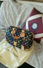 Auth! LOUIS VUITTON black Multicolor Monogram SPEEDY Handbag GREAT GIFT!