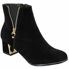 "Kelsi Women's UK 3 (EU 36) Black & Gold 2"" Block Heel New Zip Up Ankle Boots"