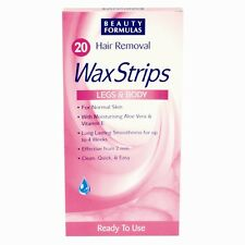 20 Beauty Legs & Body Ready to Use Wax Waxing Travel Strips Aloe Vera Vitamin E