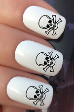 NAIL ART SET #317. x24 PIRATE SKULL & CROSSBONES WATER TRANSFERS/DECAL/STICKERS