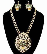 Bling Rhinestone GREEN EYED JAGUAR HEAD Statement Necklace & Earrings-Gold