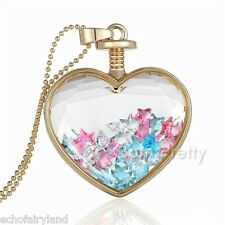 1 Pc Dreamy Colorful Star Necklace Sweet Heart Pendant Gold Chain Necklace