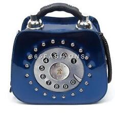STATEMENT CUTE FAUX LEATHER CRYSTALS RETRO 3D DETAIL TELEPHONE TEXTURED HANDBAG