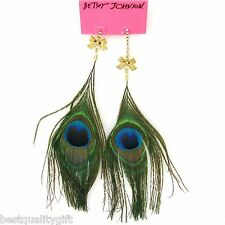 NEW BETSEY JOHNSON CRYSTAL CHAIN+GOLD TONE BOW+PEACOCK FEATHER EARRINGS