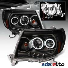 For 2005-2011 Toyota Tacoma [Dual CCFL Halo] Projector Black Headlights Pair